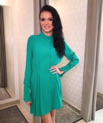 Roheline vabalt langev casual kleit