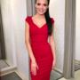 Punane kroogitud midi kleit